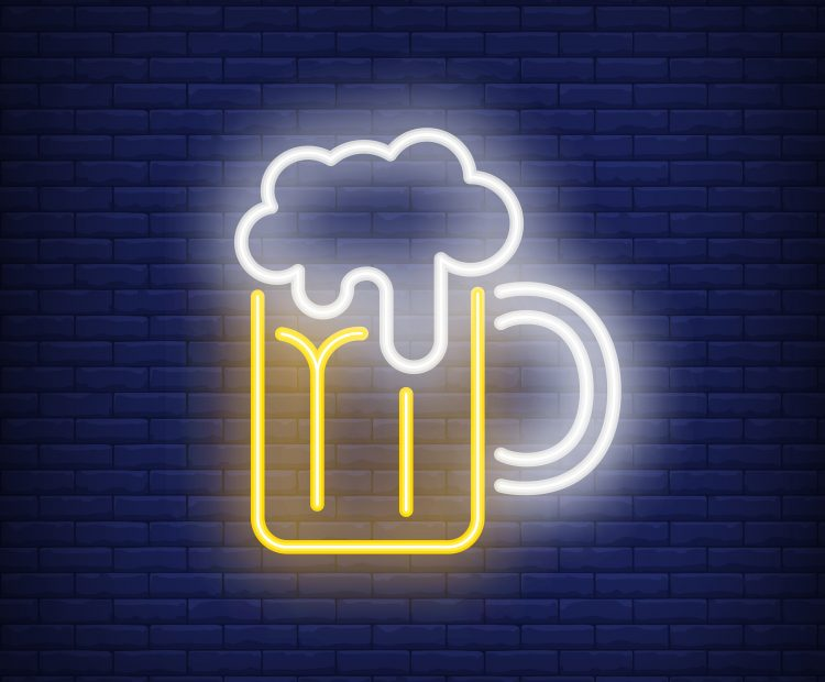 Beer mug with froth on brick background. Neon style illustration. Pub, bar, Oktoberfest. Alcohol banner. For holiday, beverage, nightlife concepts